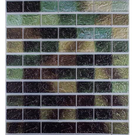 Самоклеющаяся декоративная 3D панель под кирпич зеленый микс