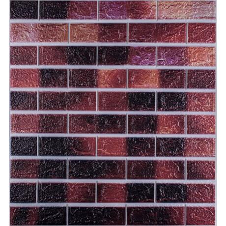 Самоклеюча декоративна 3D панель під цеглу коричневий мікс