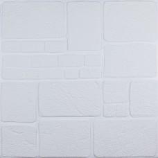 Самоклеющаяся декоративная 3D панель белый камень 700x700x8мм