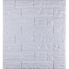 Самоклеюча декоративна 3D панель під рвану цеглу білу 700x770x8мм