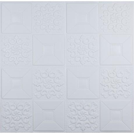Самоклеющаяся 3D панель белая орнамент 700x700x5мм