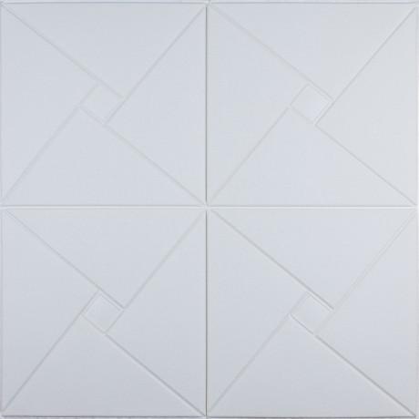 Самоклеющаяся 3D панель белый ромб 700x700x6,5 мм
