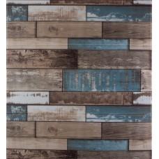 Самоклеюча декоративна 3D панель синє дерево 700x770x5мм