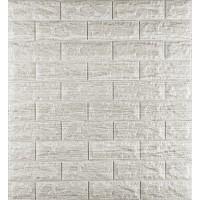 Самоклеющаяся декоративная 3D панель под светло-серый кирпич полоска 700x770x7мм