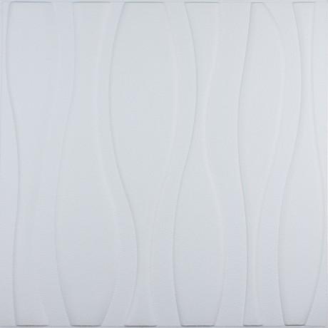 Самоклеющаяся 3D панель белая большие волны 700x700x8мм