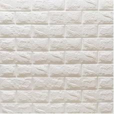 Самоклеющаяся декоративная 3D панель под белый матовый кирпич 700x770x7 мм