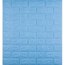 Самоклеющаяся декоративная 3D панель под голубой кирпич 700x770x7мм