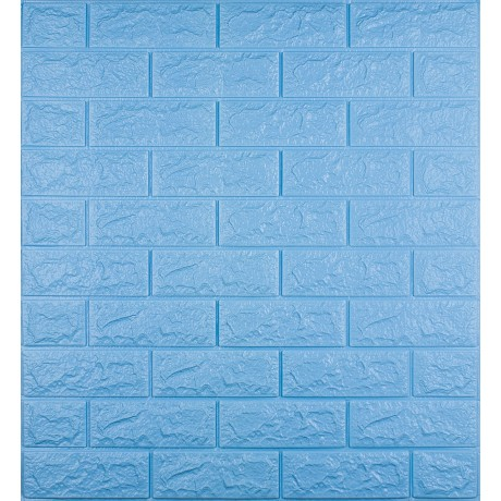 Самоклеюча декоративна 3D панель під блакитну цеглу