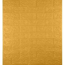 Самоклеюча декоративна 3D панель під цеглу золото 700x770x5мм