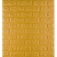 Самоклеющаяся декоративная 3D панель под кирпич золото 700x770x7мм
