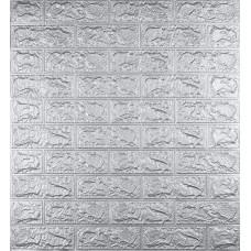 Самоклеюча декоративна 3D панель під цеглу срібло 700x770x5мм
