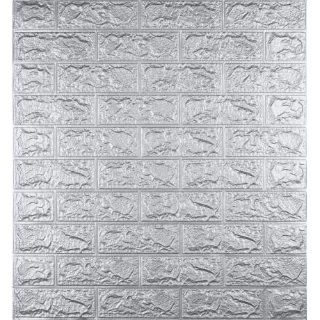 Самоклеюча декоративна 3D панель під цеглу срібло 5 мм