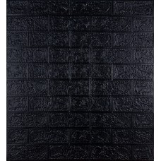 Самоклеюча декоративна 3D панель під чорну цеглу 700x770x3мм