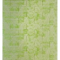 Самоклеющаяся декоративная 3D панель под кирпич салатовый мрамор 700x770x5мм
